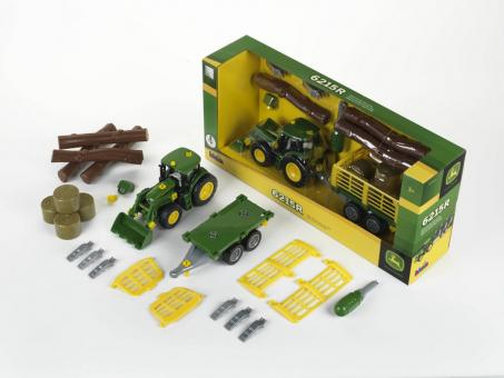 klein toys shop john deere traktor mit holz und heuwagen online kaufen. Black Bedroom Furniture Sets. Home Design Ideas